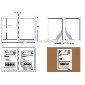 Halbblatt selbstklebend 8,5 * 11 Zoll Logistik-Label-Hersteller