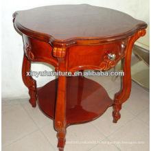 Table basse en bois ronde en bois brun C1061