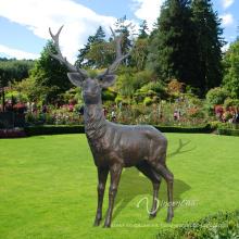 Jardín Decoración Metal artesanía vida tamaño estatua de ciervos