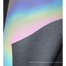 China Fabrik angepasst Flash Regenbogen Farbe reflektierende Material schillernden PU Stoff Material