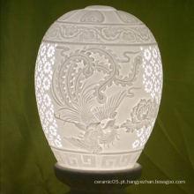 2016 novas chegadas romântico mesa de cerâmica lâmpada sombra, puro branco harback sombra