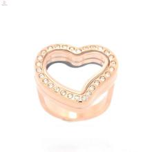 Anneaux de bijoux d'acier inoxydable de forme de coeur de conception d'or rose pour des femmes, bijoux d'anneaux de cristal d'or