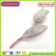Блестящая серебряная брошь-тюльпан с австралийскими кристаллами Серебряная магнитная брошь
