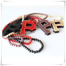 "Hip Hop Wood ""P"" Pendant with 36 Inches Wood Beaded Chain (IO-wn031)"