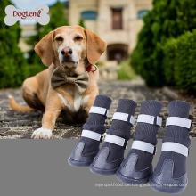 Chinesische Lieferungen Großhandel im Freien wasserdichte Anti-Rutsch-Skid Dog Stiefel großen Hund Winter warme Schuhe