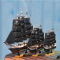 Pequeño barco de talla de madera tallado a mano de 24 cm para la decoración del hogar