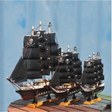 Bateau sculpté à la main de bateau de bois de 24cm petit bateau pour la décoration à la maison