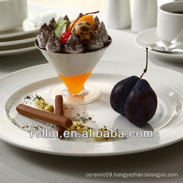High quality white fine porcelain stave lines decoration dinner set, dinnerware set wholesale