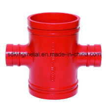 Ductile Iron 300psi NPT Threaded Grooved Reducing Cross