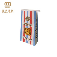 Factory Custom Colored Branded Square Bottom Popcorn Package Pop Corn Bag With Window For Wholesale