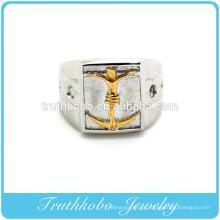 Vácuo plaitng ouro homem de aço inoxidável jesus em cruz dedo anéis titanium aço homens anel de fundição homens moda religião jóias