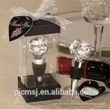 boda de la decoración gracias tapón de vino de cristal de regalo