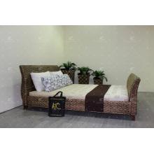 Elegante cama de jacinto de água para móveis de vime de quarto