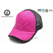 Custom Colorful Straw Truck Cap with Visor Binding