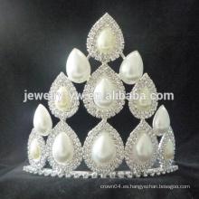 Coronas y tiaras blancas grandes del desfile de la boda del rhinestone de la princesa de la buena venta al por mayor