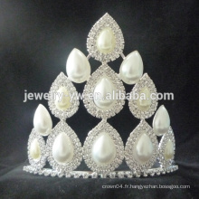 Vente en gros bonne vente princesse big rhinestone blanc décoration de mariage couronnes et tiaras