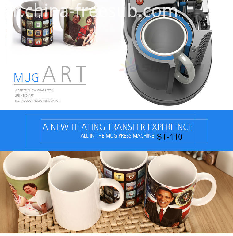 FREESUB Sublimation Black Coffee Mugs Printing Machine