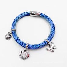 Venda quente pulseira de couro Stingrag com encantos feitos