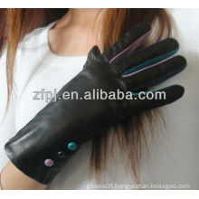 fashion lady wearing winter glove leather