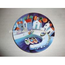 Plaque décorative en vrac blanc en porcelaine bon marché, plaque d'impression