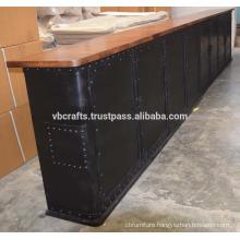 Industrial Metal Design Counter Bar Top Mango Wood Top