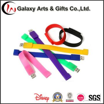Bracelete novo do esporte da faixa de pulso de USB do silicone da forma com movimentação do flash de USB