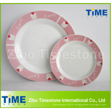 Plaques de dîner imprimées par coutume de porcelaine en céramique
