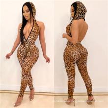 C3717 2019 Women wholesales full length sleeveless deep leopard printing V  neck bodycon casual jumpsuit women hoodie jumpsuit