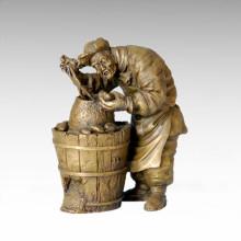Eastern Statue Village Peasant/Farmer Bronze Sculpture Tple-003