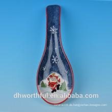 Hochwertiger keramischer Weihnachtsschneemann Löffel Rest