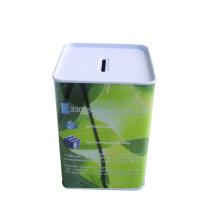 La tapa cuadrada de la caja de la lata de la caja de moneda no puede ser abierta