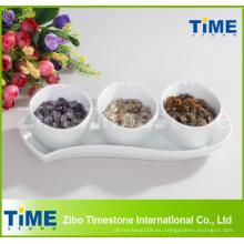 Tazón de fuente dividido blanco de cerámica de la porción de la porcelana