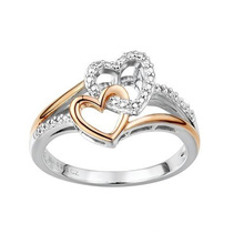Two Hearts Forever Two Tone 925 Silver Ring Jewelry
