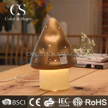 Lámpara de mesa de seta de cerámica marrón para el hogar