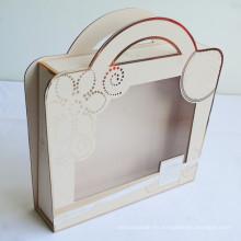 Caja de empaquetado lujosa con asa y ventanas transparentes