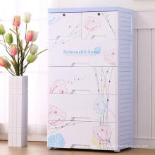 Gabinete de cajón de plástico de diseño de flores de moda (206055)