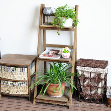 3 Tier Ladder Shelf Folding Bookshelf Storage Shelving Unit Display Free Stand Wall Rack Brown