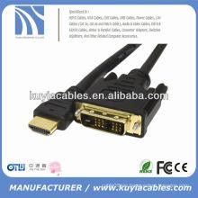 Buena calidad 18 + 1 DVI AL CABLE DE HDMI CON EL ORO PLATED