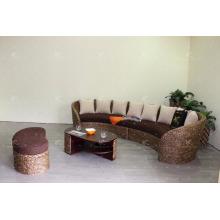 C форма Поли ротанга плетеная мебель для гостинной-мебель (акация деревянная рама, ручной тканые плетеные гиацинт)