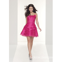 Coral Organza Strapless Sexy Short Party Dresses (PAD0004)