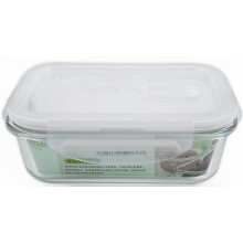 Récipient d'aliments en verre à haute teneur en borosilicate avec couvercle PP