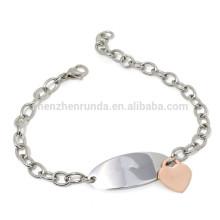 Atacado 2015 moda pulseira placa em branco com ouro rosa jóias pulseiras charme com produtos de venda quente verão