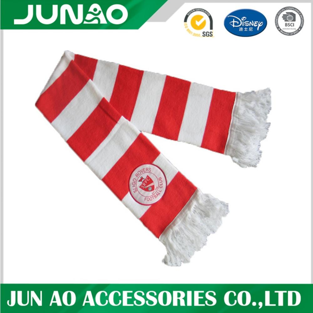 Fashion colorful custom design acrylic knitted football scarf