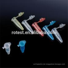 0,2 ml einzelne PCR-Röhrchen mit verschiedenen Farben (Deckel mit flachem Deckel)