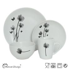 Ensemble de dîner en céramique design simple fleur