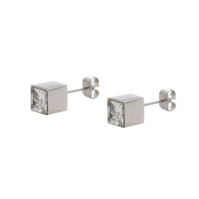 E-332 xuping fashion square design inlay rhinestone stainless steel ladies stud earrings