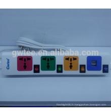 Vente chaude sortie 4 voies protection universelle surcharges prise électrique avec usb