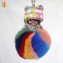 2017 de la venta al por mayor ovejas coloridas ovejas keychain piel pom pom