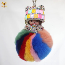 2017 Wholesale colorful girl sheep keychain fur pom pom