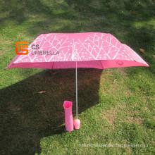Pearlized Fabric Rose Shape Handle Bottle Umbrella (YSB003B)